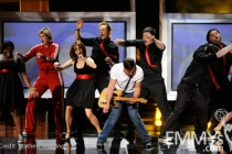 (L-R) Actors Amber Riley, Jane Lynch, Tina Fey, Joel McHale, host Jimmy Fallon, actors Corey Monteith, Chris Colfer, and Jorge Garcia