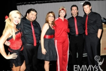 TV personality Kate Gosselin (L) and actors Jorge Garcia, Tina Fey, Jane Lynch, Jon Hamm and Cory Monteith attend the 62nd Annual Primetime Emmy Awards
