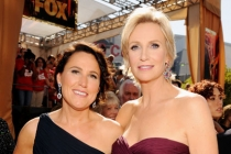 Lara Embry (L) and Jane Lynch arrive at the Academy of Television Arts & Sciences 63rd Primetime Emmy Awards