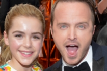 Kiernan Shipka and Aaron Paul on the Red Carpet at the 65th Emmys