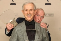 Dick and Tom Smothers with their Hall of Fame Awards.
