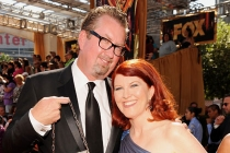 Kate Flannery (R) and Chris Haston (L) arrive at the Academy of Television Arts & Sciences 63rd Primetime Emmy Awards