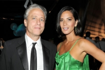 Jon Stewart (L) and Olivia Munn attend the Governors Ball