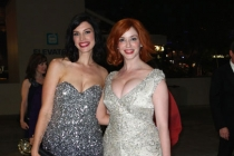Jessica Pare (L) and Christina Hendricks arrive at the Governors Ball
