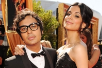 Kunal Nayyar (L) and guest arrive at the Academy of Television Arts & Sciences 63rd Primetime Emmy Awards