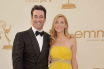 Jon Hamm and Jennifer Westfeldt arrive at the Academy of Television Arts & Sciences 63rd Primetime Emmy Awards