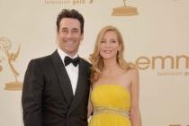 Jon Hamm and Jennifer Westfeldt arrive at the Academy of Television Arts & Sciences 63rd Primetime Emmy Awards