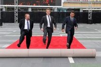 Ken Ehrlich, Neil Patrick Harris and Bruce Rosenblum at the 65th Emmy Awards red carpet rollout.