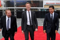 Ken Ehrlich, Neil Patrick Harris, and Bruce Rosenblum at the 65th Emmys Awards red carpet roll-out.