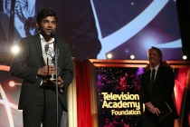 "Shubhashish Bhutiani of School of Visual Arts accepts the Directing Award for ""Kush"" at the 35th College Television Awards"