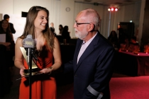 Kristin Leffler of Ithaca College, winner of The Loreen Arbus Focus on Disability Scholarship award, left, and Robert David Hall at the 35th College Television Awards