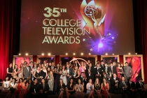 Award winners pose onstage at the 35th College Television Awards