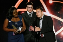 "Nickesha Johnson, Anthony Tart, and Michael Gomez of Brooklyn College accept the award in the Newscast category for ""Brooklyn College News Show 1"" at the 35th College Television Awards"