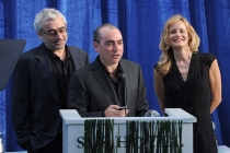 Producers Jedd Wider and Todd Wider, along with executive producer Lori Singer, accept the Television Academy Honors award for Mea Maxima Culpa: Silence in the House of God at the seventh annual Honors ceremony in Beverly Hills, California.