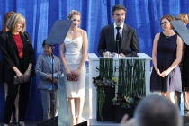 Chuck Lorre (at podium) accepts the Television Academy Honors award for CBS series Mom, alongside Mimi Kennedy, Blake Garrett Rosenthal, Sadie Calvano and Gemma Bakerthe at the seventh Honors ceremony in Beverly Hills, California.