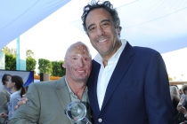 Bobby Henline (Comedy Warriors: Healing Through Humor) and Brad Garrett at the Seventh Annual Television Academy Honors in Beverly Hills, California.