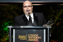 Jon Milano accepts his award at the 37th College Television Awards at the Skirball Cultural Center on Wednesday, May 25, 2016, in Los Angeles.