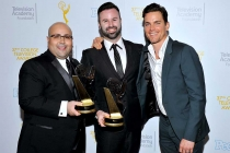 Jon Milano, Christopher Naughton, and Matt Bomer at the 37th College Television Awards at the Skirball Cultural Center on Wednesday, May 25, 2016, in Los Angeles.