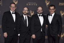 The team of Boondoggle and Ty Burrell on the red carpet at the 2017 Creative Arts Emmys.