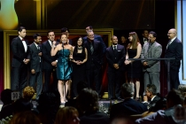 The KVEA news team onstage at the 67th Los Angeles Area Emmy Awards July 25, 2015, at the Skirball Cultural Center in Los Angeles, California.