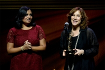 Lata Pandya and Val Zavala onstage at the 67th Los Angeles Area Emmy Awards July 25, 2015, at the Skirball Cultural Center in Los Angeles, California.