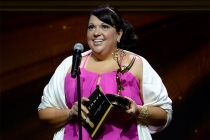Nicolette Medina accepts an award at the 67th Los Angeles Area Emmy Awards July 25, 2015, at the Skirball Cultural Center in Los Angeles, California.