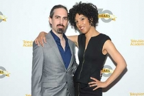 Composer Bear McCreary and singer Raya Yarbrough arrive at the Outlander: From Scotland to Paris event, April 5, 2016, at the NYU Skirball Center for the Performing Arts in New York City.