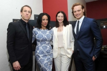 Actor Tobias Menzies, moderator Michelle Miller, and actors Catriona Balfe and Sam Heughan backstage at the Outlander: From Scotland to Paris event, April 5, 2016, at the NYU Skirball Center for the Performing Arts in New York City.