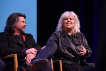 Showrunner Ronald D. Moore and costume designer Terry Dresbach on the panel at the Outlander: From Scotland to Paris event, April 5, 2016, at the NYU Skirball Center for the Performing Arts in New York City.