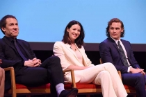 Actors Tobias Menzies, Catriona Balfe, and Sam Heughan on the panel at the Outlander: From Scotland to Paris event, April 5, 2016, at the NYU Skirball Center for the Performing Arts in New York City.