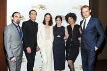 Composer Bear McCreary, actors Tobias Menzies, Catriona Balfe, executive producer Maril Davis, singer Raya Yarbrough and actor Sam Heughan arrive at the Outlander: From Scotland to Paris event, April 5, 2016, at the NYU Skirball Center for the Performing