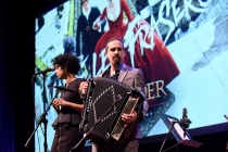 Singer Raya Yarbrough and composer Bear McCreary perform at the Outlander: From Scotland to Paris event, April 5, 2016, at the NYU Skirball Center for the Performing Arts in New York City.