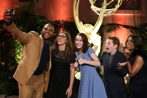 Anthony Anderson and fellow nominees Mayim Bialik, Rachel Brosnahan, Seth Green, and Niecy Nash take a group selfie at the Performers Peer Group Celebration August 24 at the Montage in Beverly Hills, California.