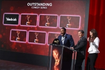 Anthony Anderson is excited to see that black-ish has been nominated as Lauren Graham and Television Academy chairman and CEO Bruce Rosenblum look on in the Wolf Theatre at the Saban Media Center, North Hollywood, California on July 14, 2016.