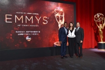 Anthony Anderson, Lauren Graham, and Television Academy chairman and CEO Bruce Rosenblum in the Wolf Theatre at the Saban Media Center, North Hollywood, California on July 14, 2016.