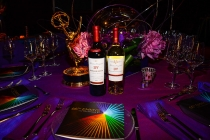 66th Primetime Emmys Governors Ball table setting, featuring official wine selections from sponsor Beaulieu Vineyard.