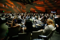 The audience enjoys the show at the 67th Los Angeles Area Emmy Awards July 25, 2015, at the Skirball Cultural Center in Los Angeles, California.