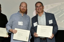 2016 nominees Ben Patrick and Elmo Ponsdomenech proudly display their nomination certificates at the Sound Editing and Sound Mixing nominee reception, September 8, 2016 at the Saban Media Center in North Hollywood, California.