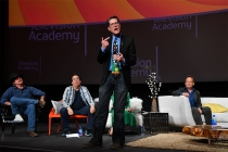 "Bob Bergen speaks at ""But the Characters Live On!"" in the Wolf Theatre at the Saban Media Center in North Hollywood, California, March 2, 2017."