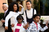 Yara Shahidi, Marsai Martin, Marcus Scribner, and Miles Brown of black-ish strike a pose at the reception at the Eighth Annual Television Academy Honors, May 27 at the Montage Beverly Hills.