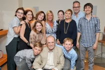 Bob Newhart poses with famikly and friends at The Rise of the Cerebral Comedy: A Conversation with Bob Newhart, presented Tuesday, Aug. 8, 2017, at the Television Academy's Wolf Theater at the Saban Media Center in North Hollywood, California.
