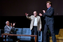 Bob Newhart says goodnight to his audience while Peter Bonerz and Conan O'Brien look on at The Rise of the Cerebral Comedy: A Conversation with Bob Newhart, presented Tuesday, Aug. 8, 2017, at the Television Academy's Wolf Theater at the Saban Media Cente