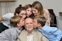 Bob Newhart gets a birthday kiss from his grandchildren at The Rise of the Cerebral Comedy: A Conversation with Bob Newhart, presented Tuesday, Aug. 8, 2017, at the Television Academy's Wolf Theater at the Saban Media Center in North Hollywood, California