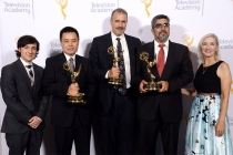 Josh Brener, Zhou Wang, Alan Bovik, Hamid Sheikh, and Wendy Aylesworth at the 2015 Engineering Emmys at the Loews Hotel in Los Angeles, October 28, 2015.