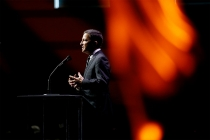 Television Academy chairman and CEO addresses the audience at the 67th Los Angeles Area Emmy Awards July 25, 2015, at the Skirball Cultural Center in Los Angeles, California.