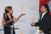 FIDM Museum director Barbara Bundy and Television Academy chairman and CEO Bruce Rosenblum onstage at The 9th Annual Outstanding Art of Television Costume Design Exhibition at the FIDM Museum & Galleries, Saturday, July 18, 2015, in Los Angeles.