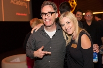 Tom Kenny and Television Academy Governor Jill Daniels at It's Not Just A Cartoon! Animation Day, presented by the Television Academy for its members and their families on Saturday, November 11, 2017 at the Saban Media Center in North Hollywood, Californi