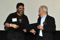 Television Academy governor Steve Venezia presents a certificate at the Sound Editing and Sound Mixing nominee reception, September 8, 2016 at the Saban Media Center in North Hollywood, California.