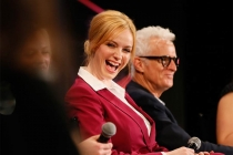 "Christina Hendricks and John Slattery onstage at ""A Farewell to Mad Men,"" May 17, 2015 at the Montalbán Theater in Hollywood, California."