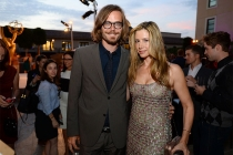 Christopher Backus and Mira Sorvino at the Performers Peer Group nominee reception.